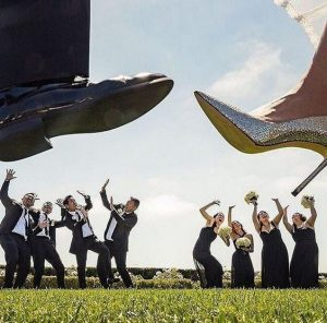 groomsmen and bridal train dodge as if brides and grooms shoes will fall on them - mydeerflower