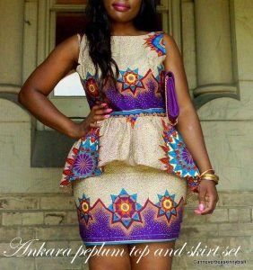 guinea brocade ankara short skirt and short sleeve peplum blouse for young ladies - momoafrica