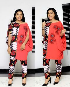 half agbada two colours senator style for ladies - mammypi