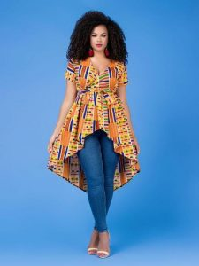 high low kente fabric top for young ladies - grass-fields