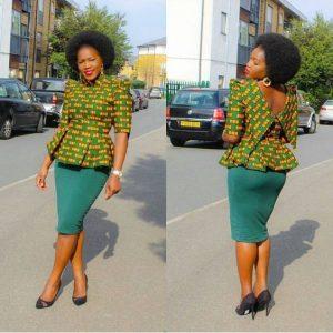 high neck ankara blouse with plain skirt - dabonke