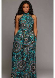 high neck short sleeve ankara jumpsuit for plump ladies - ufumbuzinow