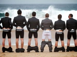 hilarious groomsmen pose style with outer pants down - buzzfeed