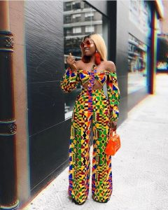 hot chics off shoulder Ankara crop top with matching palazzo trousers - mummypi