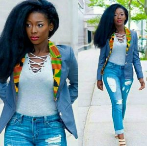 jeans coat with a touch ankara at the colar and ripped jeans trousers for ladies