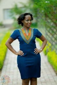jean gown with ankara embroidery for young mums