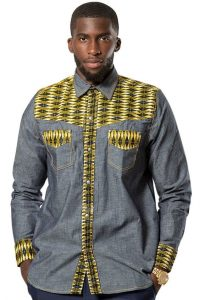 jeans shirt with cute kente fabric design for guys - afrilege