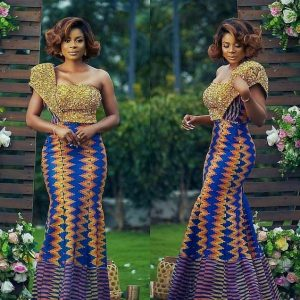 kente combined with lace material for african wedding one sleeve gown - zanaposh