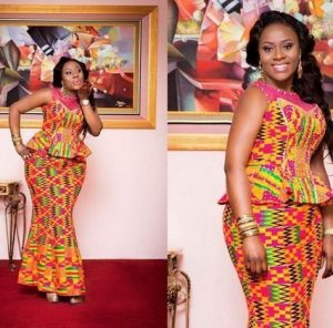 kente fabric long skirt and short sleeve blouse - momoafrica