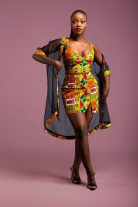 kente strap sleeve short gown with see through long jacket for ladies - afrikrea