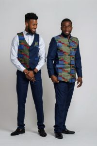 kente suit vest and coat with a matching bow tie - afrilege