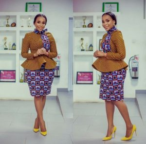 kimmy special high neck ankara flay coat with skirt for official outings - pinterest