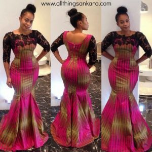 ladies ankara mermaid gown with lace design - allthingsankara