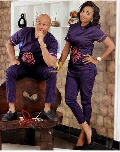 latest couples short sleeve plain ankara senator style - manly24