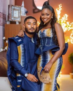 latest couples - the groom on agbada with the bride rocking a peplum gown - instagram