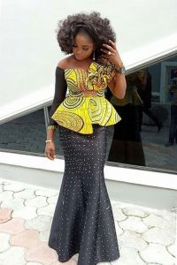 latest two colours ankara aso ebi skirt and blouse style - blog stylishgwinafrica