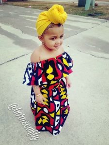 little big girls ankara off shoulder long gown style with hair tie - hairstyles2u