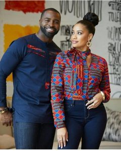 long sleeve ankara plus jean combo for couples - blog.stylishgwinafrica