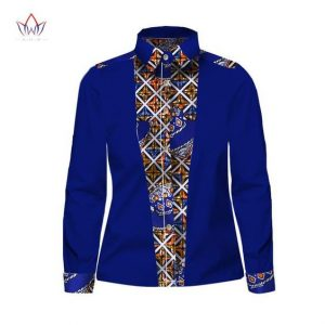 long sleeve jeans shirt with ankara touch - owame