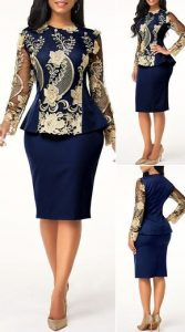 long sleeve round neck ankara lace blouse with plain skirt - liligal
