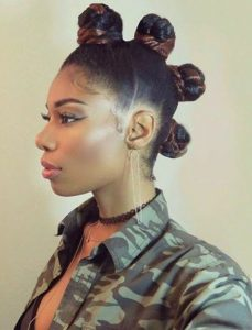 lovely four centered bantu knots hairstyle - curlycraze