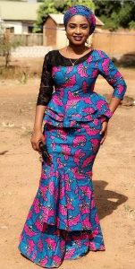 madams long skirt and blouse ankara style with lace design - momoafrica