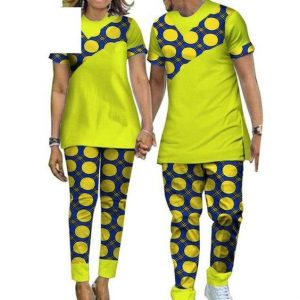 matching couple ankara plain and pattern senator style -afrinspiration