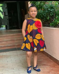 matured ankara gown style for young girls with rose flower design - atnigeria
