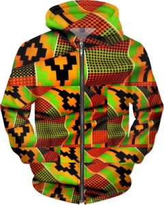 mens kente jacket with hood - rageon
