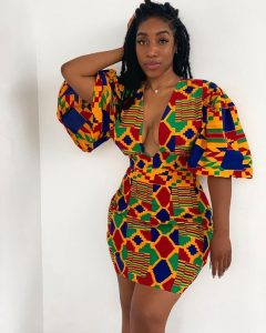 mimmy yeboah slaying on a short kente gown - instagram