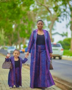 mummy and daughter rocking matching ankara palazzo trousers with long coat - instagram
