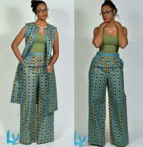 mums ankara palazzo trousers with short sleeve long jacket - od9jastyles