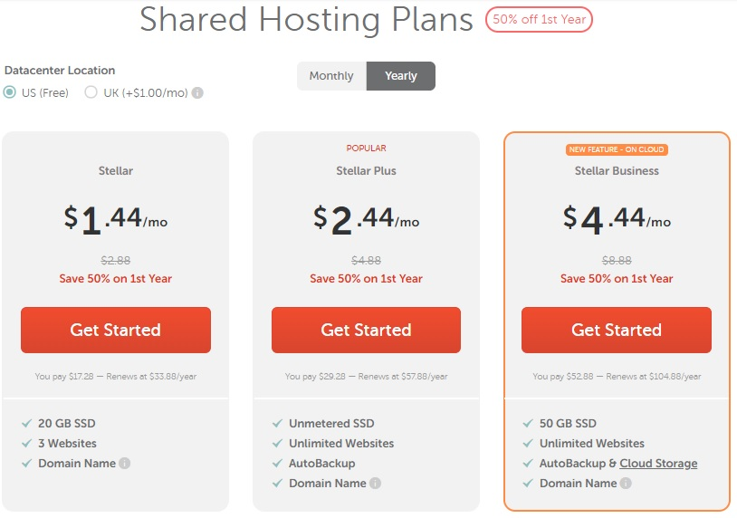 name cheap shared hosting plan prices