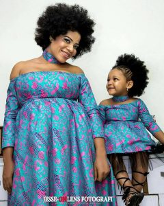off shoulder long sleeve ankara maternity gown with matching necklace for mother and daughter - ankarastyles com ng