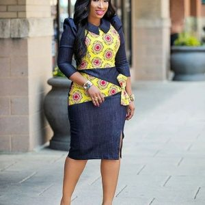 office jean gown with ankara design - Pinterest