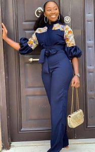 office ladies plain ankara palazzo jumpsuit with pattern design - kirmizidefter456 pins life