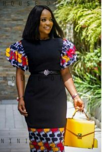 official long jean gown with ankara touch at hands and knee - Pinterest