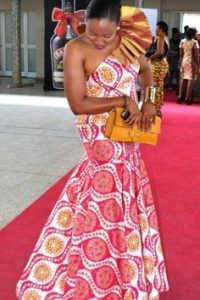 one shoulder ankara gown for african wedding - weddingdigestnaija