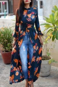 overflowing ankara gown with jean trouser for ladies
