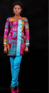 pattern ankara senator top with plain trousers for ladies - nallemclothing