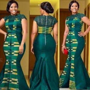 plain and pattern ankara mermaid gown with top lace design - od9jastyles