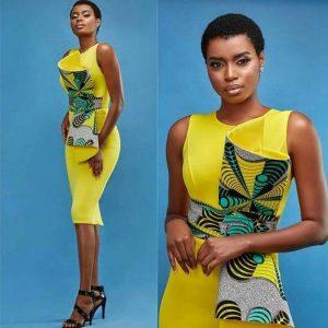 plain and pattern kente short sleeve dress for birthday photo shoot - blog stylishgwinafrica