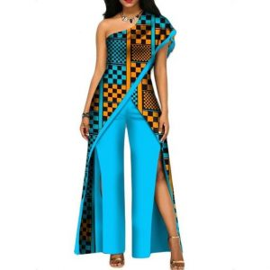 plain and pattern one off shoulder ankara jumpsuit - infrinspiration