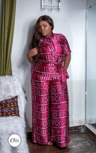 plus size chiffon ankara palazzo trouser with matching short sleeve top - pinterest