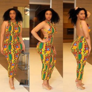 plus size curvy ladies kente show back gown for party - afrocosmopolitan