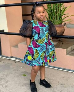 puffed sleeve ankara short gown for female kids - instagram
