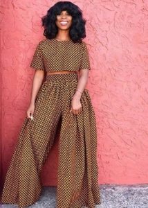 queens styles ankara palazzo trousers with a matching crop top - etsy