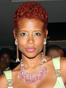 red colour natural afro hairstyle for mums - maneandchic