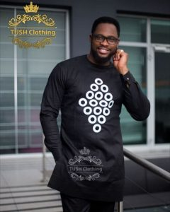 round neck black ankara suit style with white circle design - pinterest