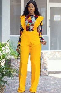 semi agbada ankara plain and pattern palazzo jumpsuit with long sleeve - ankaracollections